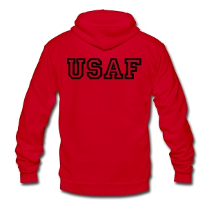 USAF Zip Up Hoodie - Unisex Fleece Zip Hoodie by American Apparel