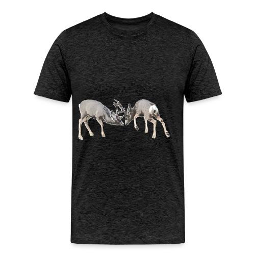 Mule deer bucks fighting - Men's Premium T-Shirt