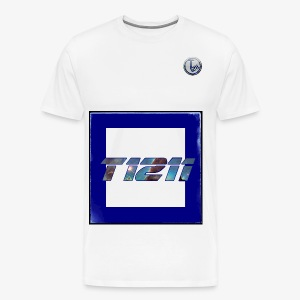 T1211 white background w/ blue back text - Men's Premium T-Shirt