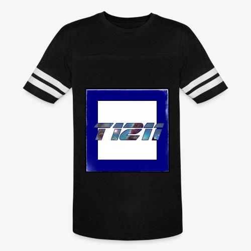 T1211 striped white background w/ white back text - Vintage Sport T-Shirt