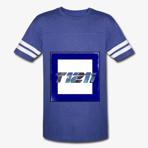 T1211 striped white background w/ white back text - Vintage Sport T-Shirt