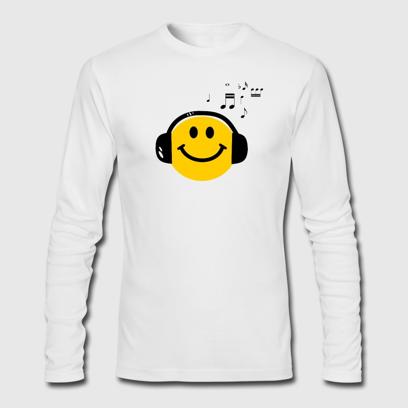 Music Love Smiley with Headphones Long Sleeve Shirts - Men's Long Sleeve T-Shirt by Next Level