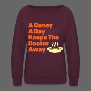 Detroit Coney Dog A Day Keeps Doctor Away  - Women's Crewneck Sweatshirt