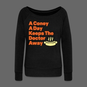 Detroit Coney Dog A Day Keeps Doctor Away  - Women's Wideneck Sweatshirt