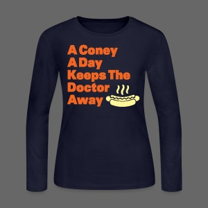 Detroit Coney Dog A Day Keeps Doctor Away  - Women's Long Sleeve Jersey T-Shirt