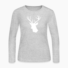 White Stag Deer Head Long Sleeve Shirts