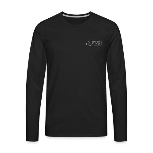 Day One Fitness Logo Front/Fight Strong Back - Men's Long Tee - Men's Premium Long Sleeve T-Shirt
