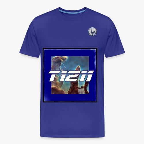 T1211 space background w/ white back text - Men's Premium T-Shirt