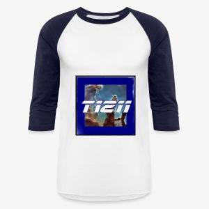 t1211 baseball long sleeve space background w/ blue back text - Baseball T-Shirt