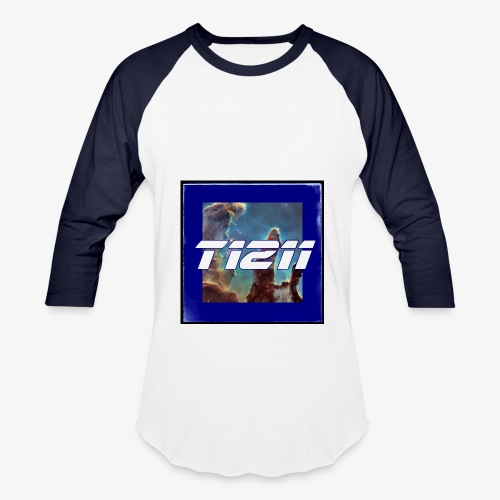 t1211 baseball long sleeve space background w/ blue back text - Baseball T-Shirt