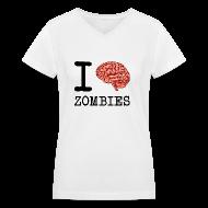 Women's T-Shirts ~ Women's V-Neck T-Shirt ~ I Brain Zombies