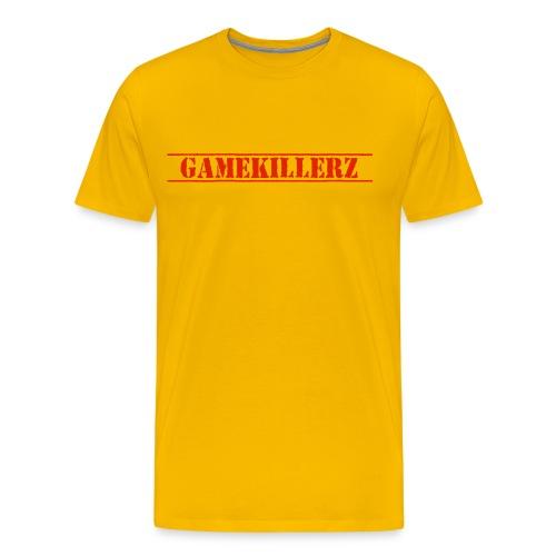 Men's Yellow T-Shirt w/ Red Logo - Men's Premium T-Shirt