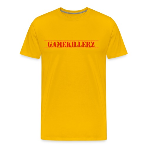 Men's Yellow T-Shirt w/ Red Logo - Men's Premium T-Shirt