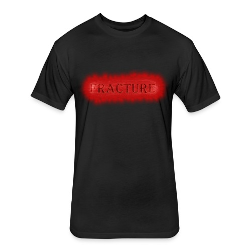 Men's Black FRACTURE Fitted Cotton/Poly T-Shirt w/Red Burn effect - Fitted Cotton/Poly T-Shirt by Next Level
