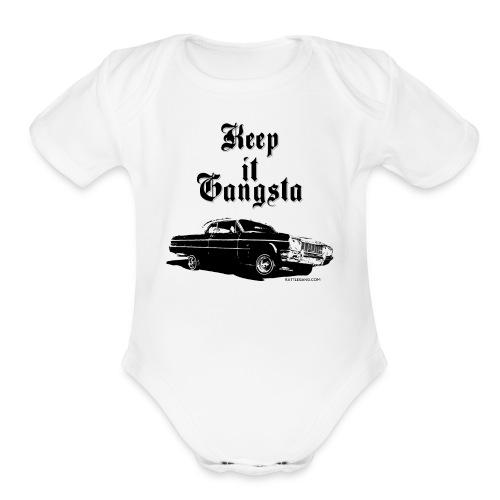 Keep it Gangsta - Baby Wear (Wht) - Organic Short Sleeve Baby Bodysuit