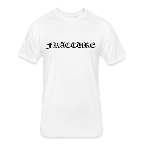 Men's White FRACTURE Fitted Cotton/Poly T-Shirt w/black Banner Font - Fitted Cotton/Poly T-Shirt by Next Level