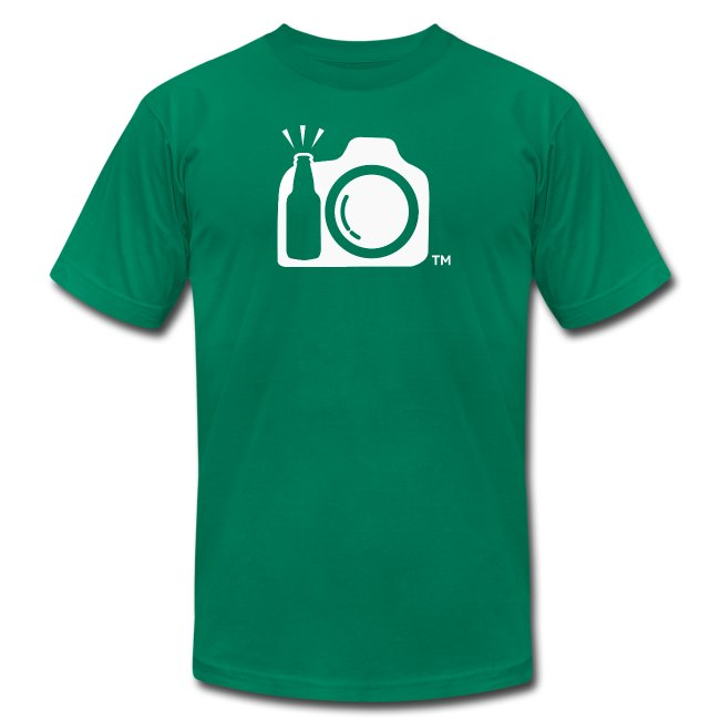 Men's Green T-Shirt White Logo Front - Drink and Click ATX Back