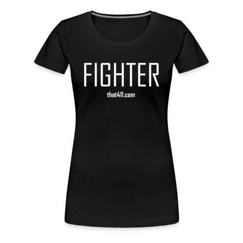Women's Short Sleeve, Fighter T-shirt. Black w/White Graphic - Women's Premium T-Shirt