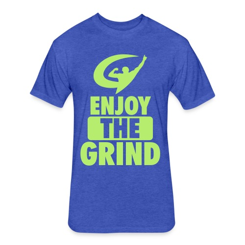 EnjoyTheGrind | Neon Blue - Fitted Cotton/Poly T-Shirt by Next Level