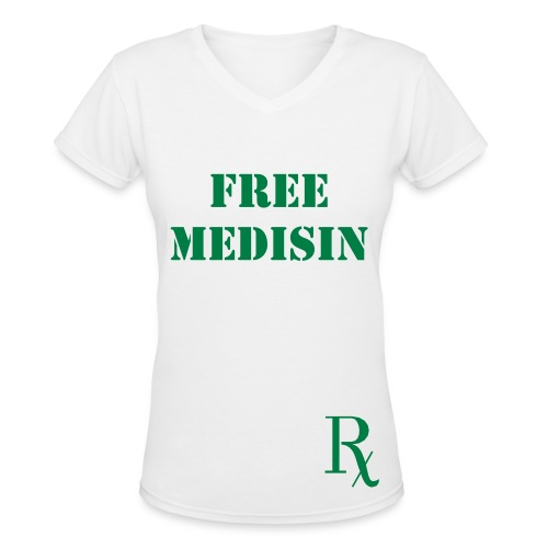 FREE MEDISIN V-Neck WHITE/GREEN - Women's V-Neck T-Shirt