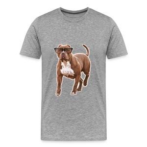 Funny pit bull in glasses - Men's Premium T-Shirt