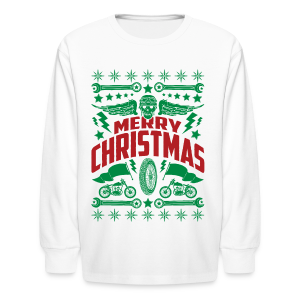 Motorcycle Ugly Christmas Sweater - Kid's Long Sleeve Shirt - Kids' Long Sleeve T-Shirt