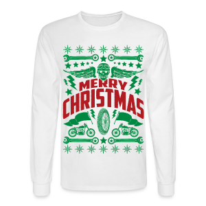 Motorcycle Ugly Christmas Sweater - Men's Long Sleeve Shirt - Men's Long Sleeve T-Shirt