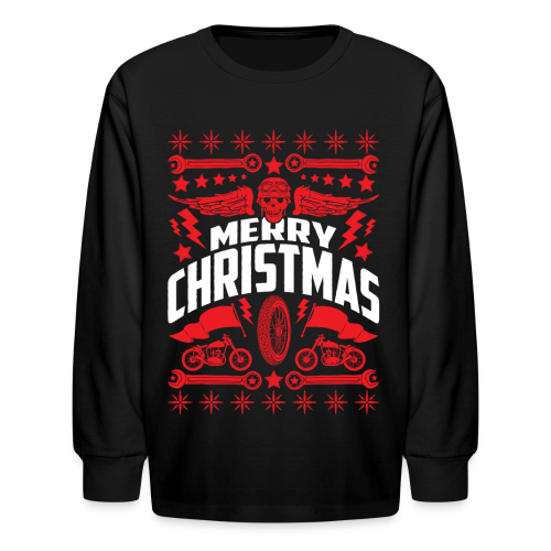 Motorcycle Merry Christmas Kids' Shirts - Kids' Long Sleeve T-Shirt
