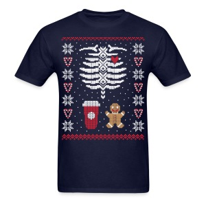Ugly Christmas Sweater / Coffee & Gingerbread Man - Men's T-Shirt