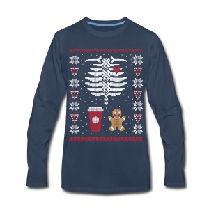 Ugly Christmas Sweater / Coffee & Gingerbread Man - Men's Premium Long Sleeve T-Shirt