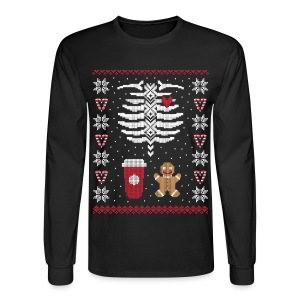 Ugly Christmas Sweater / Coffee & Gingerbread Man - Men's Long Sleeve T-Shirt