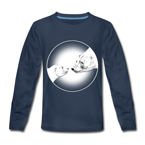 Polar Bear Art Shirts - Kid's Mother & Cub T-shirts  - Kids' Premium Long Sleeve T-Shirt