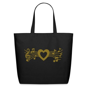 Musical Heart Large Tote (Metallic Gold) - Eco-Friendly Cotton Tote