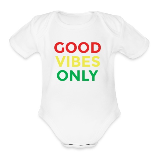 Good Vibes only (Wht) Baby Wear - Organic Short Sleeve Baby Bodysuit