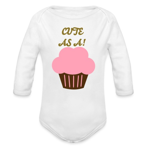 Organic Long Sleeve Baby Bodysuit - Girls' Pink Cute as a Cupcake  .