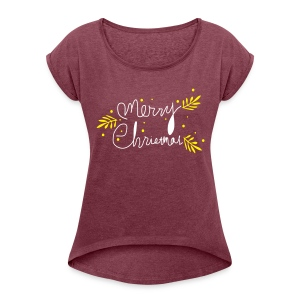 Merry Christmas Women's Roll Cuff T-Shirt - Women's Roll Cuff T-Shirt