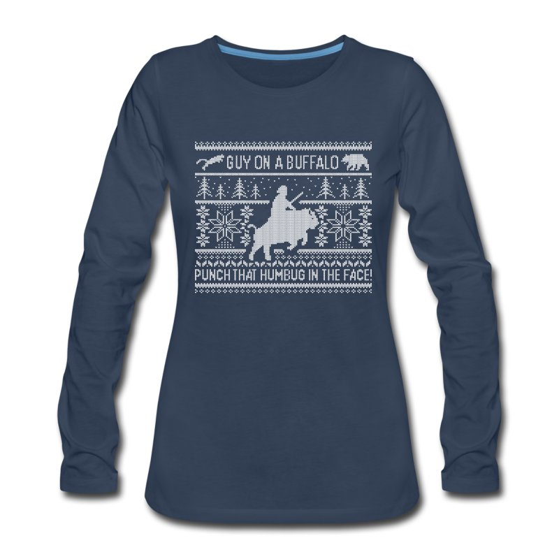Guy on a Buffalo X-mas 17 - Women's Premium Long Sleeve T-Shirt
