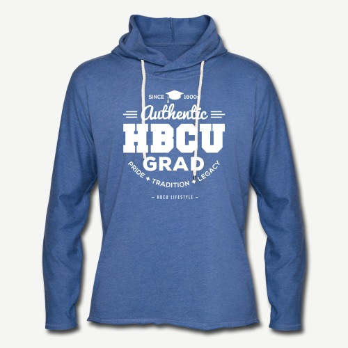HBCU Grad Shirt - Unisex Ivory and Heather Blue Terry Light Weight Hoodie - Unisex Lightweight Terry Hoodie