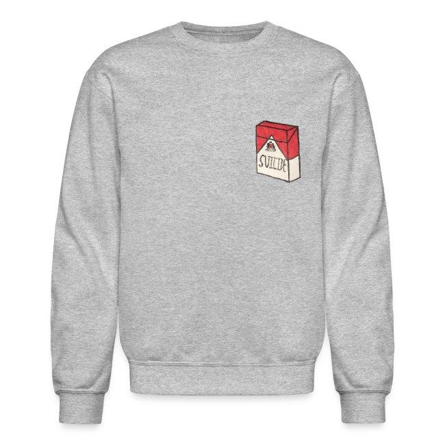 """Unisex """"Suicide Cigarette Box Logo"""" Crewneck Hoodie (Grey)"""