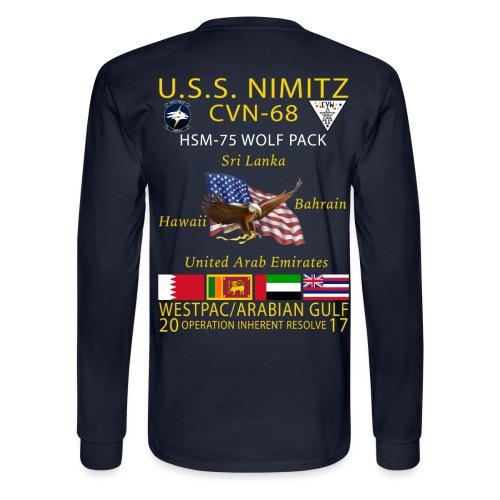 USS NIMITZ w/ HSM-75 LONG SLEEVE CRUISE SHIRT - Men's Long Sleeve T-Shirt
