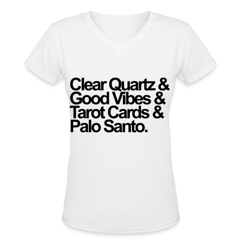 Clear Quartz V-Neck (Goddess) - Women's V-Neck T-Shirt