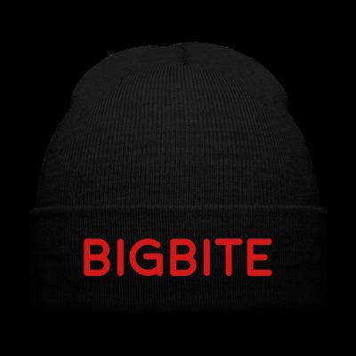 BIGBITE Red Beanie - Knit Cap with Cuff Print