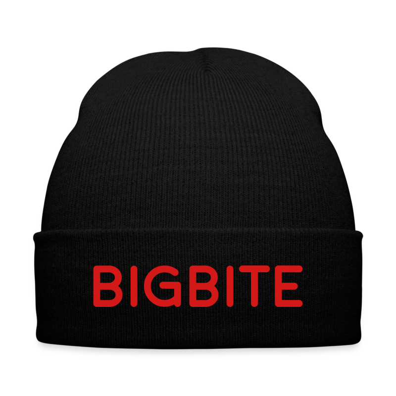 BIGBITE Red Beanie - Knit Cap with Cuff Print