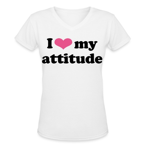 Attitude V-Neck (Goddess) - Women's V-Neck T-Shirt