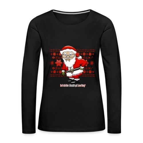 Mocking Santa Women's Longsleeve Tee (Red Background) - Women's Premium Long Sleeve T-Shirt