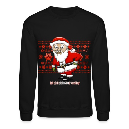 Mocking Santa Sweatshirt (Red Background) - Crewneck Sweatshirt
