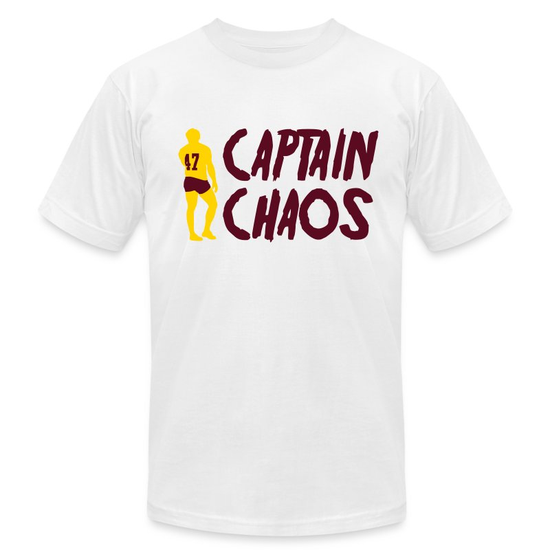 Captain Chaos Men's Tee - White - Men's T-Shirt by American Apparel