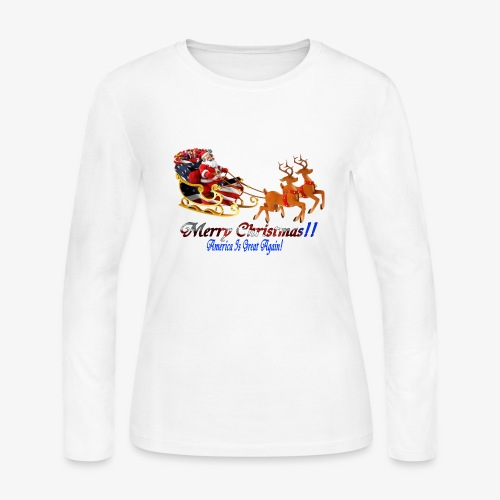 Merry Christmas-America Is Great Again! - Women's Long Sleeve Jersey T-Shirt