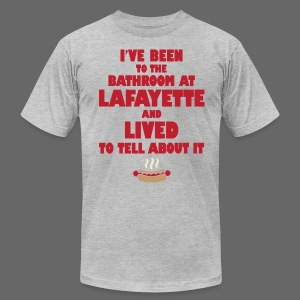 Funny Lafayette Bathroom - Men's T-Shirt by American Apparel