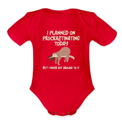 ProcrastSlothBabyBodysuit - Organic Short Sleeve Baby Bodysuit